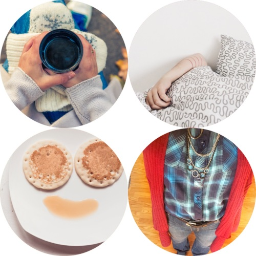 coffee, pillows, pancakes, clothes